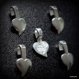 hõbedane riputusaas süda 5tk AANRAKU